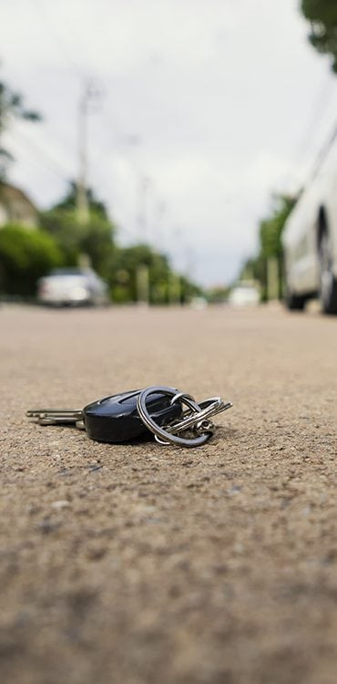 Keys left in the road